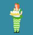 leprechaun girl with red hair and beer beautiful vector image