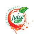 logo orange juice splatter on white vector image vector image