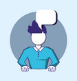 man with speech bubble vector image vector image