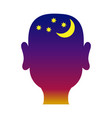 mans head outline with night background vector image vector image