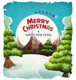 merry christmas landscape postcard vector image vector image