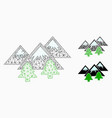 mountains forest mesh wire frame model and vector image vector image