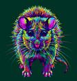 mouse abstract multi-colored neon portrai vector image