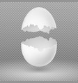 opened white egg with broken shell isolated vector image vector image