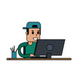 person using computer icon image vector image