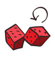 red dice icon with a black outline on a white vector image vector image