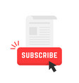 red subscribe newsletter button vector image vector image