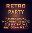 retro party vintage 3d alphabet set vector image