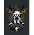 rock music poster with bull skull microphone and vector image vector image