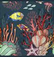 seamless pattern with nautical sea treasure marine vector image