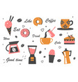 set different coffee equipment icons on white vector image