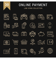 Set Flat Line Icons Online Payment vector image vector image