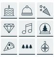 Set of 9 celebration icons includes tree toy