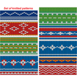 Set of 9 knitted ornamental seamless patterns vector image vector image