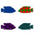 silhouette of fish four pieces vector image
