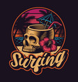 skull with straw on summer theme vector image vector image