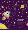 start up space cartoon web page template vector image vector image