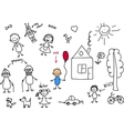 Stick Family Drawing vector image vector image