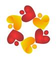 Teamwork sharing hearts logo vector image vector image