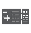 ticket glyph icon pass and tourism plane ticket vector image vector image