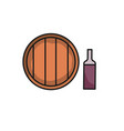 wine cellar icon wine in bottle and barrel vector image