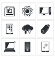 Exchange of information technology icon collection vector image