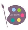 art school paints color palette with brush vector image vector image
