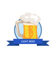 beer in traditional mug with handle white foam vector image