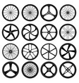 bicycle wheels tires silhouettes bike wheels with vector image vector image