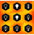 Bulbs Hexagonal icons set on abstract orange vector image