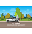 car accident on road broken vehicle on roadside vector image