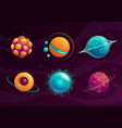 cartoon fantasy planets set vector image vector image