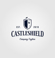 castle shield vintage logo retro icon design vector image vector image