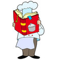 chef reading cookery book vector image