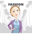 chic girl among the palm trees vector image vector image