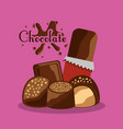 chocolate bar candy sweet dessert poster vector image vector image