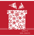 Christmas gift on red with snowflakes vector image vector image