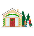 christmas house with new year decoration vector image vector image