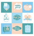 Collection of 9 cards with positive design vector image vector image