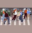 crowd of people is crossing road at busy crosswalk vector image