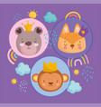 cute animals faces with crowns rainbows clouds vector image vector image