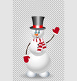 cute cartoon snowman character in top hat on vector image vector image