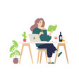 cute girl resting at computer at home a vector image