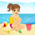 cute little girl playing with sand on beach vector image