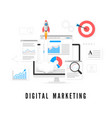 digital marketing concept data analysis seo vector image vector image