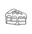 doodle a piece cake with cream and syrup vector image vector image