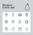 farm icons set with pail fence carrot and other vector image