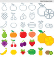 fruit pixel icons vector image vector image