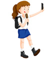 Girl eating icecream and taking selfie vector image vector image