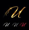 golden letter u monogram initial sign vector image vector image